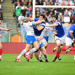 (R-L) Damian Penaud of France and Leonardo Ghiraldini of Italy during the Guinness Six Nations match between Italy and France on March 16, 2019 in Rome, Italy. (Photo by Dave Winter/Icon Sport)