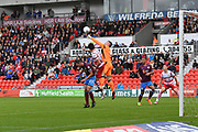 Scunthorpe United goalkeeper Matthew Gilks (1) clears ball during the EFL Sky Bet League 1 match between Doncaster Rovers and Scunthorpe United at the Keepmoat Stadium, Doncaster, England on 17 September 2017. Photo by Ian Lyall.