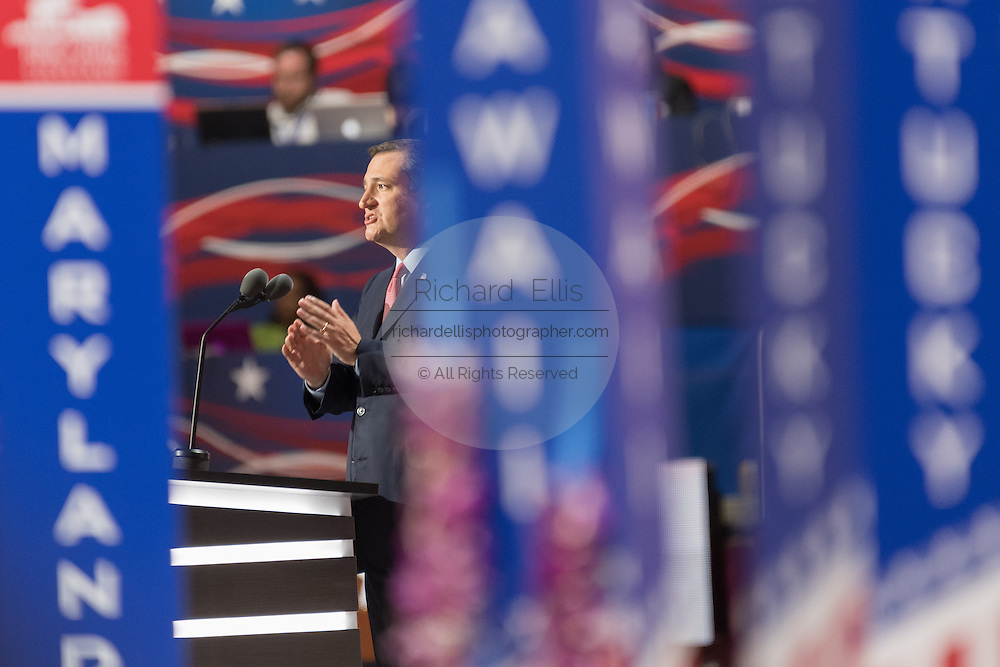 Senator Ted Cruz addresses delegates during the third day of the Republican National Convention July 20, 2016 in Cleveland, Ohio. Cruz spoke without endorsing nominee Donald Trump.