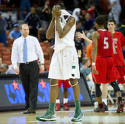 Robert Johnson (30) of Richardson Berkner reacts after losing to Fort Bend Travis during the UIL Conference 5A semifinals at the Frank Erwin Center in Austin on Friday, March 8, 2013. (Cooper Neill/The Dallas Morning News)