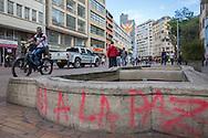 Bogota, Cundinamarca, Colombia - 23.09.2016        <br /> <br /> Yes to peace slogan sprayed on a wall in the center of Bogota. On 2nd October a peace referendum takes place about the end of the 52 years ongoing civil war between the marxist FARC-EP guerrilla and the government.<br /> <br /> Ja zum Frieden - Slogen an einer Wand im Zentrum von Bogota. Am 02. Oktober findet eine Volksabstimmung &uuml;ber das Ende des seit 52 Jahren dauernden B&uuml;rgerkrieges zwischen der marxistischen FARC-EP Guerilla und der Regierung statt.<br /> <br /> Photo: Bjoern Kietzmann