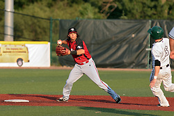 06 June 2014:  Niko Gallego & Mike McKenna during a Frontier League Baseball game between the Frontier Freedom and the Normal CornBelters at Corn Crib Stadium on the campus of Heartland Community College in Normal Illinois