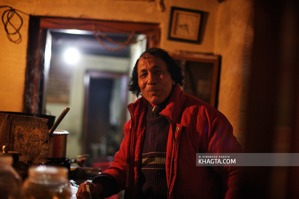 Portrait of 'Chachu'. He owns a Tea Shop in Kullu and is known for the best tea of Kullu.