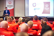 Warsaw, Poland - 2017 March 12: Witold Banka Minister of Sports Departament while Nomination Ceremony of Special Olympics Polish National Team before the Special Olympics World Winter Games Austria  2017 at Marriott Hotel on March 12, 2017 in Warsaw, Poland.<br /> <br /> Mandatory credit:<br /> Photo by &copy; Adam Nurkiewicz / Mediasport<br /> <br /> Adam Nurkiewicz declares that he has no rights to the image of people at the photographs of his authorship.<br /> <br /> Picture also available in RAW (NEF) or TIFF format on special request.<br /> <br /> Any editorial, commercial or promotional use requires written permission from the author of image.<br /> <br /> Image can be used in the press when the method of use and the signature does not hurt people on the picture.