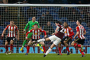 Burnley midfielder George Boyd (21)  effort goes wide  during the The FA Cup third round replay match between Burnley and Sunderland at Turf Moor, Burnley, England on 17 January 2017. Photo by Simon Davies.