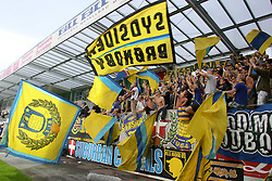 28.07.2011, Keine Sorgen Arena, Ried im Innkreis, AUT, UEFA EL Qualifikation, SV Josko Ried vs Brondby IF, im Bild Fansektor Bronsby // during football match between SV Josko Ried (AUT) and Brondby IF (DEN) 1st Leg of Europa League third Qualifying Round, on July 28, 2011 at Keine Sorgen Arena Ried im Innkreis, Austria. EXPA Pictures © 2011, PhotoCredit: EXPA/ R. Hackl
