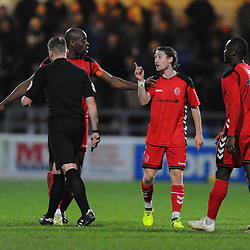 TELFORD COPYRIGHT MIKE SHERIDAN 22/12/2018 - James McQuilkin of AFC Telford makes his point to referee Sam Barrott during the Vanarama Conference North fixture between Chester FC and AFC Telford United at the Swansway Deva Stadium, Chester.
