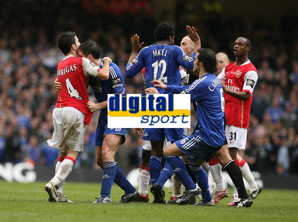 Photo: Rich Eaton.<br /> <br /> Chelsea v Arsenal. Carling Cup Final. 25/02/2007. Cesc Fabregas left of Arsenal and Frank Lampard centre of Chelsea wrestle as Ricardo Carvalho moves in to pull them apart