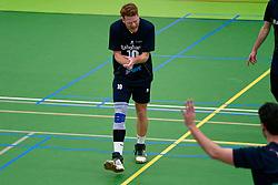 Max van Straten #10 of Zaanstad celebrate in the degradation match between Zaanstad and Vocasa on March 1, 2020 in sports hall de Koog, Zaanstad Netherlands