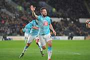 Derby County's Jacob Butterfield celebrates scoring to go 1-0 up during the Sky Bet Championship match between Hull City and Derby County at the KC Stadium, Kingston upon Hull, England on 27 November 2015. Photo by Ian Lyall.