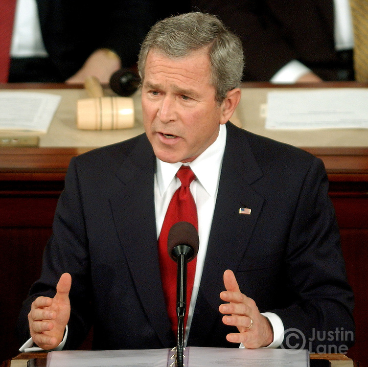 United States President George W. Bush delievers his 2005 State of the Union address at the US Capitol in Washington, DC Wednesday 2 February 2005.