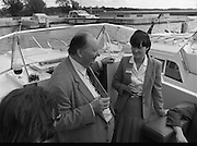 Galway Oyster Festival..1982.09.09.1982.09.09.1982.9th September 1982..The Festival was held on the banks of the Shannon at Portumna Co.,Galway..It was held in the picturesque new marina. The event was sponsored by Guinness. Emerald Star line were also represented.Mr.R.B.Howick chats with Emerald Line Crew  aboard one of the fleets cruisers.