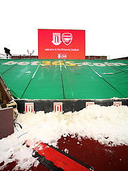 A general view showing snow at the Britannia Stadium  - Mandatory byline: Matt McNulty/JMP - 17/01/2016 - FOOTBALL - Britannia Stadium - Stoke, England - Stoke City v Arsenal - Barclays Premier League