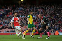 John Ruddy of Norwich City saves another attempt by Arsenal - Mandatory byline: Jason Brown/JMP - 07966386802 - 30/04/2016 - FOOTBALL - Emirates Stadium - London, England - Arsenal v Norwich City - Barclays Premier League