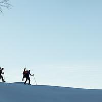 Snowboard/ Schneeschuh-Tourengeher bei Abenddämmerung im Tennengebirge, im Hintergrund Bischofsmütze, Salzburg, Österreich * Backcountry snowboarder/snowshoe hikers at dusk in the Tennengebirge mountains, overlooking Bischofsmütze, Salzburg, Austria