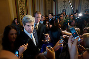 """Senator JOHN KERRY (D-MA) speaks to the media following a meeting of the Democratic members of the Deficit Reduction """"Supercommittee"""" on Capitol Hill on Thursday."""