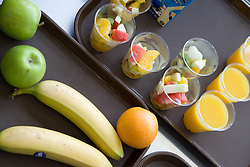 Fresh fruit and orange juice on offer at lunchtime in the School Restaurant,