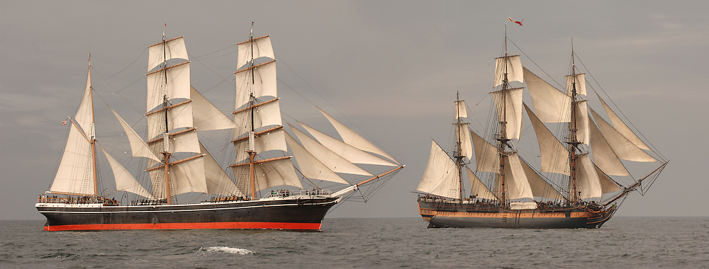 Side View of vintage tall ships shot on the open sea