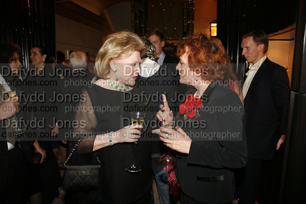 Barbara Taylor Bradford and Esther Rantzen.  Party celebrating publication of: The Ravenscar Dynasty by Barbara Taylor Bradford,  Moussaieff, 172 Bond Street, London,  -DO NOT ARCHIVE-© Copyright Photograph by Dafydd Jones 66 Stockwell Park Rd. London SW9 0DA Tel 020 7733 0108 www.dafjones.com