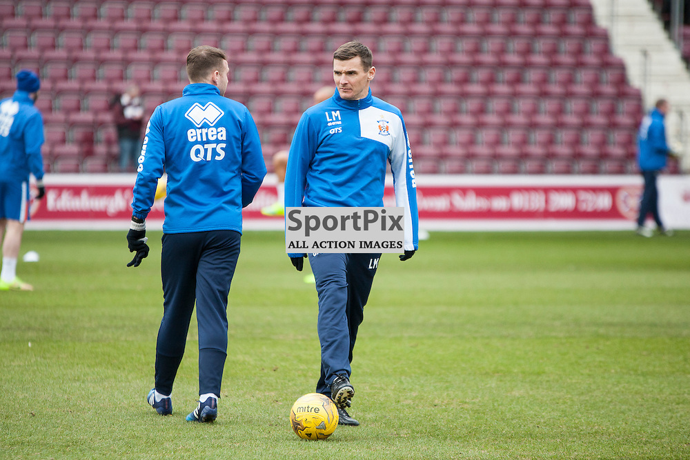Hearts v Kilmarnock, Scottish Premiership, 27 February 2016, Lee McCulloch (Kilmarnock, 15) oversees the Kilmarnock warm up before the Hearts v Kilmarnock Scottish Premiership match played at Tynecastle Stadium, © Chris Johnston | SportPix.org.uk