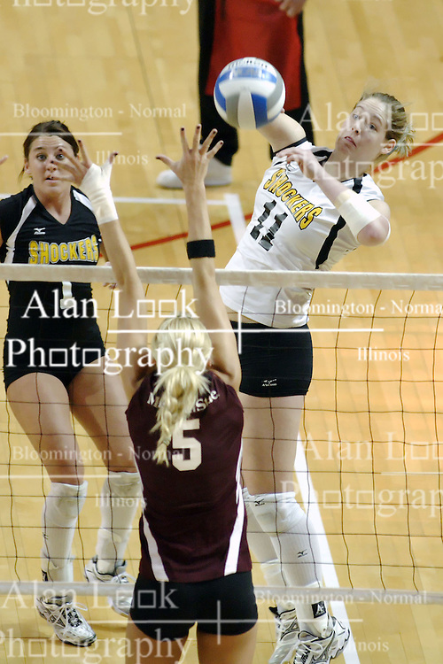 24 November 2006: Sara Thomas blocks a hit by Sara Lungren during a Semi-final match between the Missouri State Bears and the Wichita State Shockers. The Tournament was held at Redbird Arena on the campus of Illinois State University in Normal Illinois.<br />