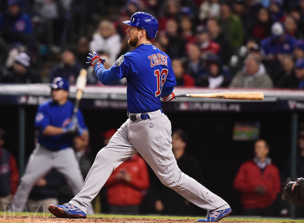 Oct 26, 2016; Cleveland, OH, USA; Chicago Cubs outfielder Ben Zobrist hits a RBI triple against the Cleveland Indians in the 5th inning in game two of the 2016 World Series at Progressive Field. Mandatory Credit: Ken Blaze-USA TODAY Sports
