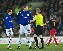 CARDIFF, WALES - Tuesday, February 1, 2011: Cardiff City's Jonathan Parkin exchanges words with Referee Gavin Ward during the Football League Championship match at the Cardiff City Stadium. (Photo by Gareth Davies/Propaganda)