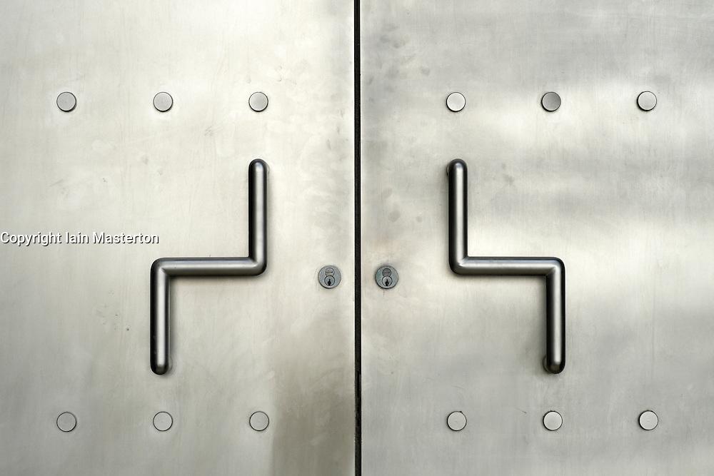 Detail of stainless steel door