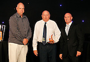 Best Club Cricket Initiative (Sportsville Project) accepted by Noel Burnside and Paul O'Brien of Papatoetoe Cricket Club. Auckland Cricket Awards Dinner, Eden Park South Stand, Thursday 14 April 2011. Photo: Simon Watts/photosport.co.nz