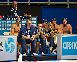 21-01-2012 WATERPOLO: EC NETHERLANDS - TURKEY: EINDHOVEN<br /> European Championships Netherlands - Turkey / (L-R) Coach Johan Aantjes, assistent coach Laszlo Boros<br /> (c)2012-FotoHoogendoorn.nl / Peter Schalk