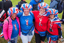 Gleneagles, Scotland, UK; 10 August, 2018.  Day three of European Championships 2018 competition at Gleneagles. Men's and Women's Team Championships Round Robin Group Stage. Four Ball Match Play format.  Pictured; Patriotic ladies wearing red , white and blue providing support for Great Britain's teams.