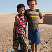 Two young boys in a remote village, Karakum Desert, Turkmenistan