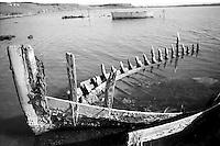 Scheletro di barca in mar piccolo, a Taranto