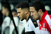 Newcastle United defender Jamaal Lascelles (#6) leads his team out before the EFL Sky Bet Championship match between Newcastle United and Rotherham United at St. James's Park, Newcastle, England on 21 January 2017. Photo by Craig Doyle.