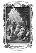 The Annunciation.  The archangel Gabriel appearing to the Virgin Mary, telling her she will bear Jesus Christ.  'Bible' Luke 1. 30. Copperplate engraving c1808