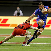 Remenicent of Faosaliva and Paul Perez, Jacob Ale is earning major respect in the HSBC 7's circuit.  Ale was a major component in Samoa's 28-10 victory over Wales at the Canada 7's, Day 1, BC Place, Vancouver, British Columbia, Canada.  Photo by Barry Markowitz, 3/10/18, 6pm