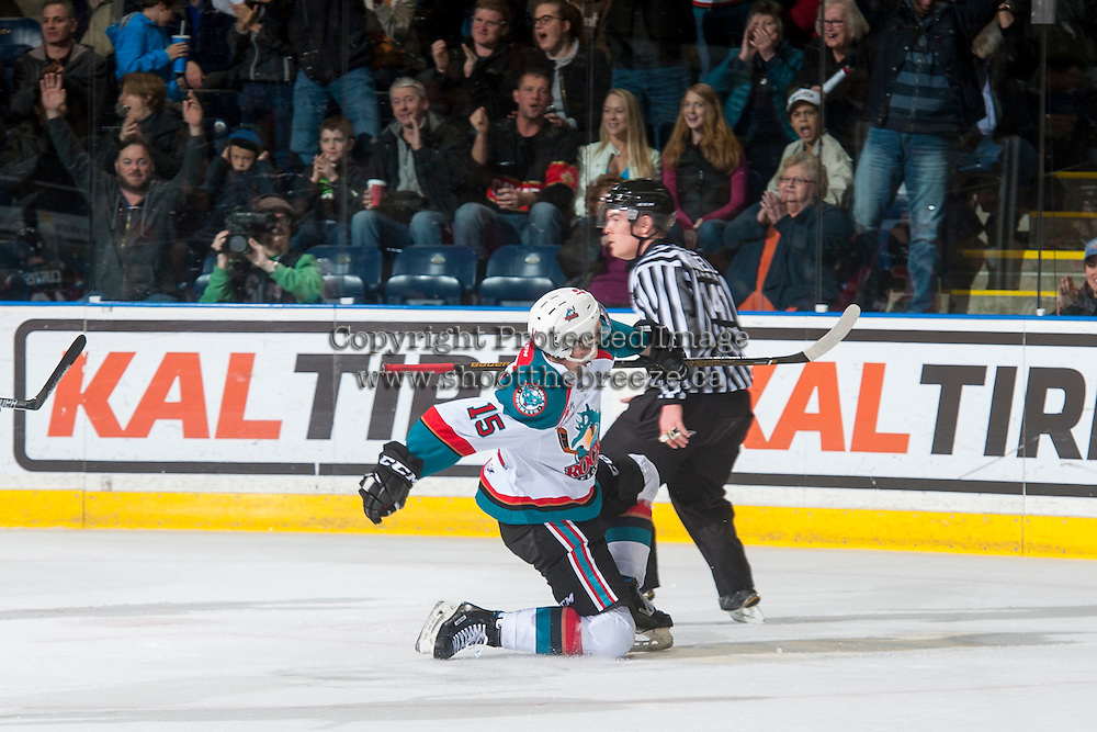 KELOWNA, CANADA - FEBRUARY 18: Tomas Soustal #15 of the Kelowna Rockets celebrates a first period goal against the Prince George Cougars on February 18, 2017 at Prospera Place in Kelowna, British Columbia, Canada.  (Photo by Marissa Baecker/Shoot the Breeze)  *** Local Caption ***