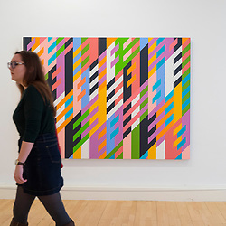 Painting Vespertino by Bridget Riley on display at Scottish National Gallery of Modern Art in Edinburgh, Scotland, United Kingdom