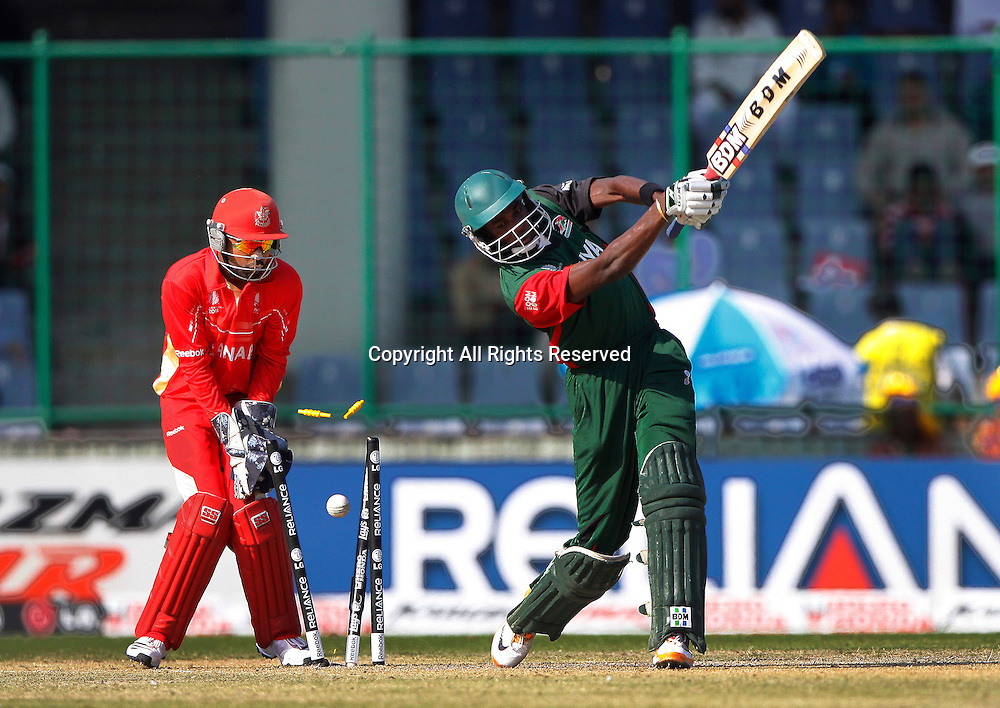 07.03.2011 Cricket World Cup from the Feroz Shah Kotla stadium in Delhi. Canada v Kenya. Collins Obuya of Kenya bowled out during the match of the ICC Cricket World Cup between Canada and Kenya.