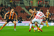 Stoke City striker Ramadan Sobhi looks to beat the defence during the EFL Cup match between Stoke City and Hull City at the Britannia Stadium, Stoke-on-Trent, England on 21 September 2016. Photo by John Marfleet.