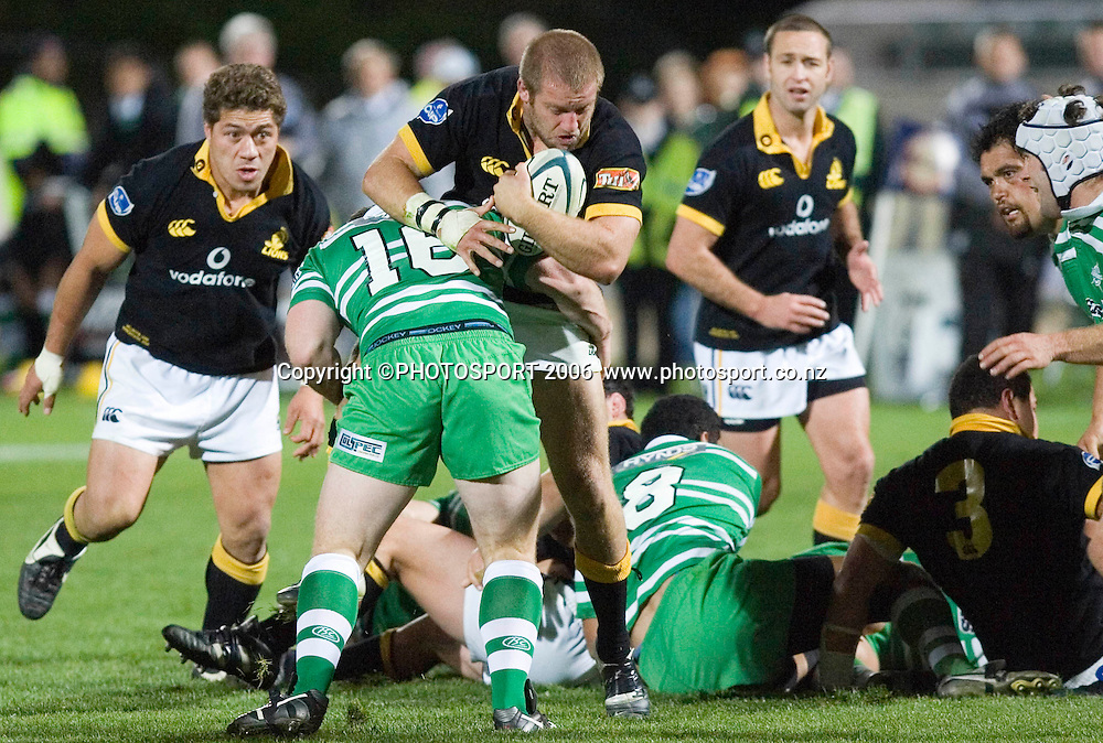 Wellington's Ben Herring gets tackled during the Air New Zealand Cup week 6 rugby match between Manawatu and Wellington at FMG Stadium, Palmerston North, on Saturday 2 September 2006. Wellington won 11-3.  Photo: Aaron Smale/PHOTOSPORT<br /> <br /> <br /> 020906 npc nz union