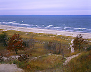 BB07040-01...INDIANA - Grass-covered sand dunes along the shore of Lake Michigan at Indiana Dunes National Lakeshore.