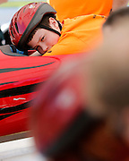 Ben Ruffell looks towards his opponent before the start of his race at a local soapbox derby event on Lakeshore Boulevard in Irondequoit on Saturday, May 31, 2014. Eighty-two competitors raced in six divisions, with the winner of each division advancing to the world championships in Akron, Ohio.