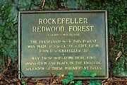 Dedication plaque in the Rockefeller Grove, Humboldt Redwoods State Park, California