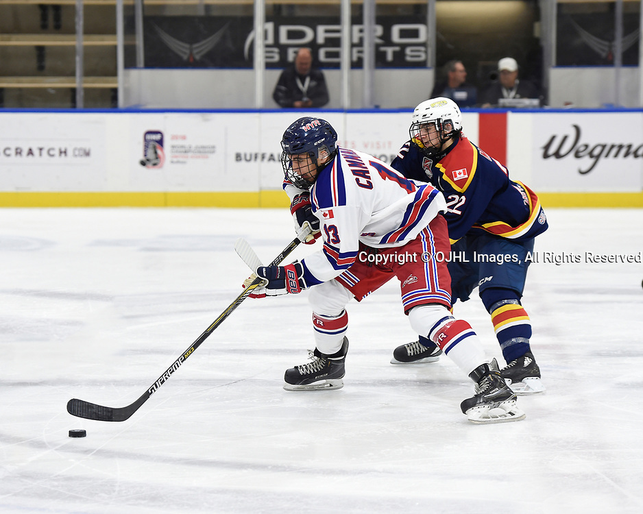 BUFFALO, NY - SEP 19,  2017: Ontario Junior Hockey League Governors Showcase game between the Wellington Dukes and the North York Rangers, Josh Cammalleri #13 of the North York Rangers battles for control with Mitchell Martan #22 of the Wellington Dukes during the second period.<br /> (Photo by Andy Corneau / OJHL Images)