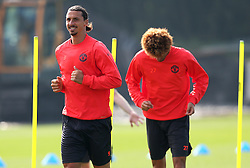 Zlatan Ibrahimovic of Manchester United trains with Marouane Fellaini - Mandatory by-line: Matt McNulty/JMP - 14/09/2016 - FOOTBALL - Manchester United - Training session ahead of Europa League Group A match against Feyenoord