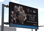Aug 22, 2019; Winnipeg, Manitoba, CAN; General overall view of billboard at Winnipeg James Armstrong Richardson International Airport promoting the NFL game between the Green Bay Packers and the Oakland Raiders at Investors Group Field.