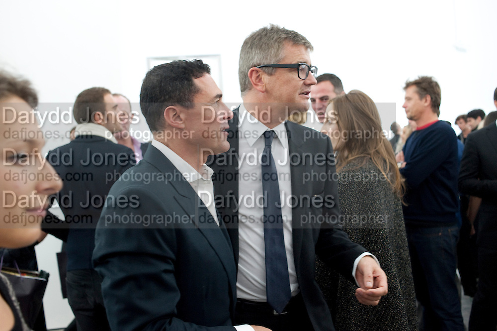 ANDRE BALAZ; JAY JOPLING, Opening of new White Cube Gallery in Bermondsey. London. 11 October 2011. <br /> <br />  , -DO NOT ARCHIVE-© Copyright Photograph by Dafydd Jones. 248 Clapham Rd. London SW9 0PZ. Tel 0207 820 0771. www.dafjones.com.