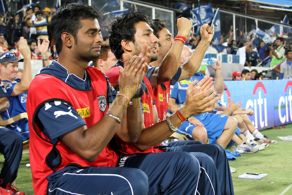 DCs players during final over of match 71 of the the Indian Premier League ( IPL) 2012  between The Deccan Chargers and the Royal Challengers Bangalore held at the Rajiv Gandhi Cricket Stadium, Hyderabad on the 20th May 2012..Photo by Prashant Bhoot/IPL/SPORTZPICS