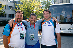 Vladimir Kevo, Khalid Nasif and  World Champion Primoz Kozmus of Slovenia at departure back to Slovenia during day five of the 12th IAAF World Athletics Championships at the Hotel Estrel on August 18, 2009 in Berlin, Germany. (Photo by Vid Ponikvar / Sportida)